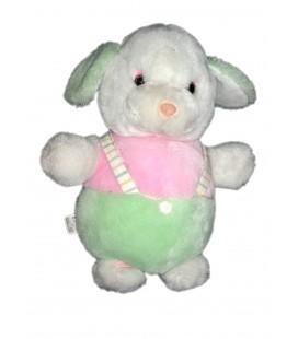 Peluche doudou chien lapin blanc rose vert pastel salopette 35 cm Boulgom