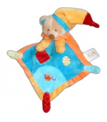 Doudou plat ours jaune orange bleu Baby Nat