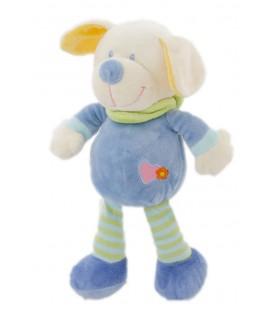 Peluche doudou chien bleu coeur rose 28 cm Nicotoy 579/5155