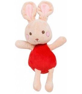 Doudou lapin rouge et rose SERGENT MAJOR 26 cm