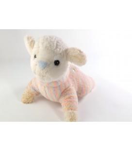 VINTAGE Peluche doudou Mouton Agneau 22 cm Nounours blanc rose bleu pastel