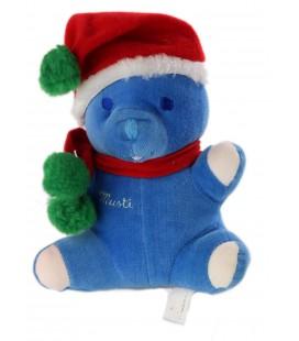 Doudou ours bleu Musti Noel Bonnet echarpe rouge vert 18 cm