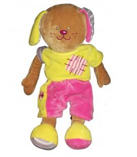 Peluche doudou Lapin chien marron jaune rose Ajena Nounours 38 cm