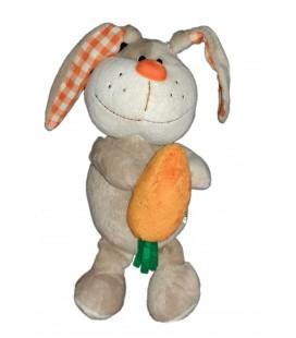 Peluche doudou Lapin gris orange Carotte FIZZY CA Credit Agricole Alsace Vosges Lapi Choco 28 cm