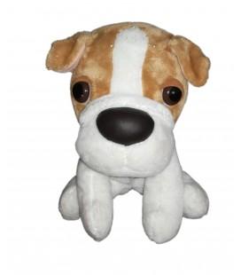 Peluche doudou chien beige blanc assis 24 cm Ajena Nounours