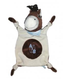 Doudou plat cheval marron blanc Raynaud Les Petits Marie AB Foulard Bleu