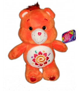 Peluche doudou Bisounours orange coeurs Spirale Care Bears 22 cm