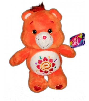 Peluche doudou Bisounours orange coeurs Spirale Care Bears 22 cm