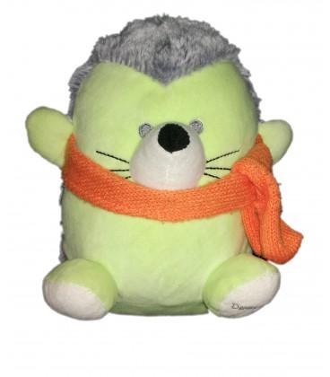 Peluche Doudou Marionnette Herisson vert A-Derma Exomega derma Doux vert 20 cm echarpe orange