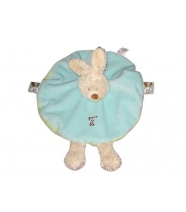 Doudou plat rond lapin beige bleu Grain de Ble Zannier