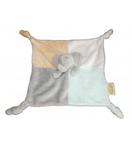 Doudou plat Elephant Babar pour Bebe gris bleu jaune Sun City
