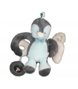 Doudou peluche Pingouin gris bleu activite spirale Louis et Scott Noukies