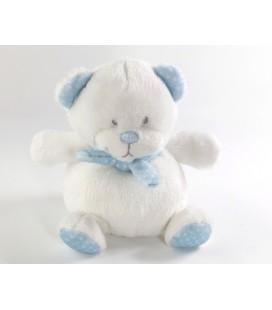 Doudou Peluche Ours Tex Baby Carrefour blanc bleu 13 cm