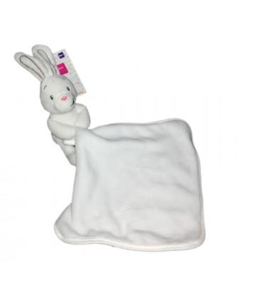 Doudou lapin blanc Mouchoir Auchan Baby