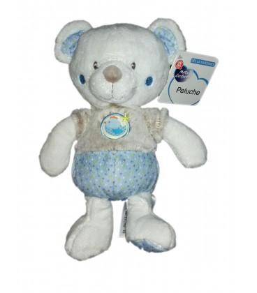 Peluche doudou Ours bleu beige gris blanc Mots d Enfants oiseau 25 cm