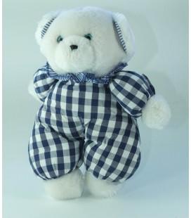 Peluche doudou Ours blanc bleu carreaux Nounours Grelot 24 cm