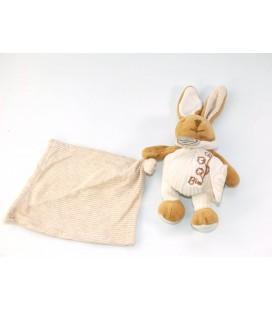 Doudou et Compagnie Lapin Bio Mouchoir blanc marron beige 18 cm