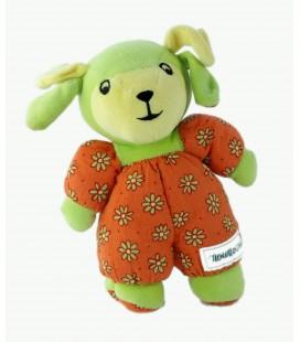 Doudou chien lapin orange jaune vert Ajena Grelot 23 cm