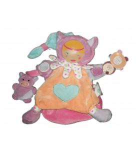 Doudou et Compagnie marionnette Bouille de Doudou DC408 Chat cochon Coeur