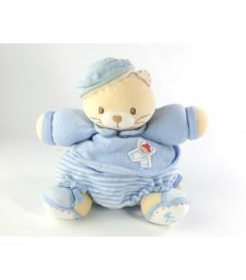 Doudou Chat boule bleu blanc rayures Kaloo Marin 20 cm