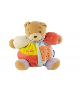Doudou Ours Patchwork 123 orange bleu 16 cm
