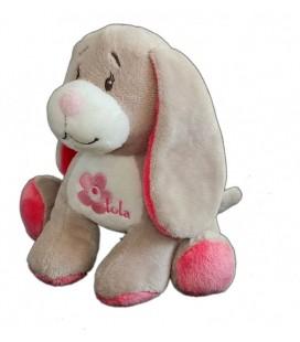 Doudou peluche chien gris rose Bebisol Arthur et Lola 18 cm