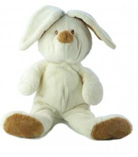 Peluche doudou Lapin blanc marron Grelot Ajena 30 cm + oreilles