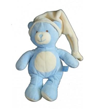Doudou peluche OURS bleu blanc GIPSY 28 cm + bonnet