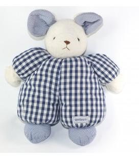Grande peluche doudou tissu Souris carreaux bleus rayures Nounours 48 cm