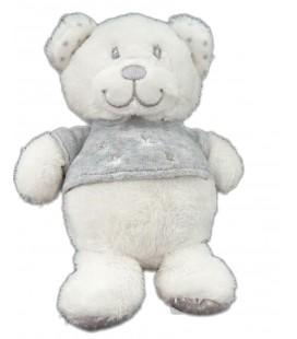 Peluche doudou Ours blanc pull gris Tex Carrefour 18 cm