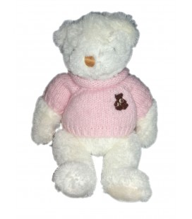 Peluche doudou Ours blanc pull rose 30 cm Histoire d Ours