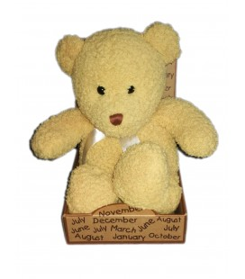 Peluche doudou Ours beige jaune Maxita 35 cm ruban satine