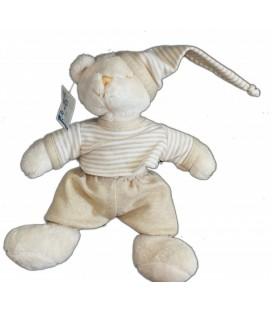Doudou peluche OURS beige blanc écru MaXITa 25 cm + bonnet