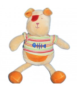 Doudou Chien orange poisson Nounours pull raye 28 cm