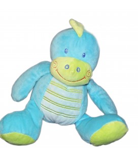 Doudou DRAGON bleu vert Avda KITCHOUN Kiabi Jogystar H 20 cm