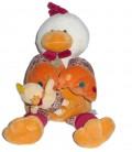 Doudou et Compagnie Peluche doudou Poupilou poule rouge jaune orange et bébé 38 cm
