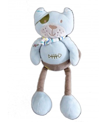 Doudou peluche chat bleu Nounours Pirate poisson 30 cm