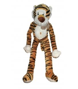 Peluche doudou Tigre marron noir blanc MAXITA 55 cm Foulard longs bras jambes