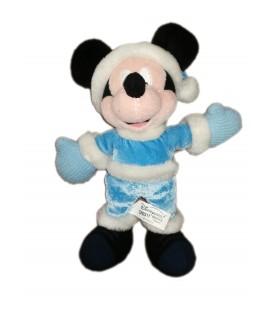 Doudou Peluche Mickey Noel Hiver Manteau Ski bleu Disney Disneyland Paris 26 cm
