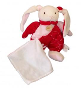 Peluche doudou Lapin blanc rose rouge - Fleur - 25 cm - Baby Nat