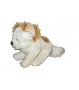 Peluche doudou chien blanc marron Anna Club Plush 21 cm + queue