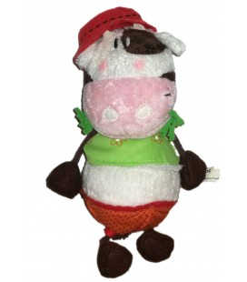 Peluche doudou vache chapeau rouge Carreblanc 25 cm