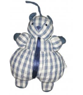Vintage Doudou ours tissu chiffon blanc bleu carreaux Sucre d orge 30 cm