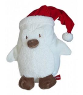 Doudou PINGOUIN blanc bonnet rouge ORCHESTRA 38 cm