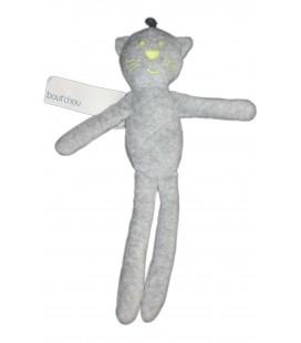 Doudou chat gris jaune fluo Monoprix Bout Chou 30 cm NEUF ETIQU