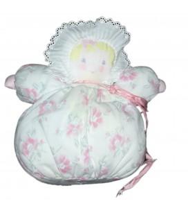 Doudou poupee tissu chiffon Corolle Blanc fleurs 25 cm