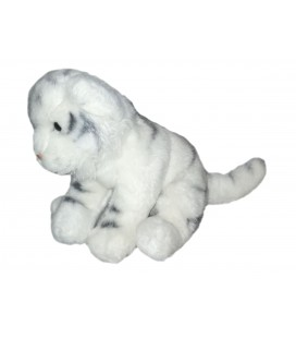 Peluche doudou Tigre blanc gris Anna Club Plush 25 cm + queue