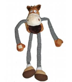 Peluche doudou Cheval marron MAXITA 60 cm longs bras jambes