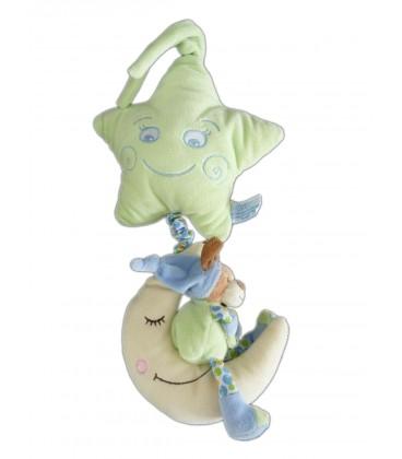 Peluche musicale doudou Chien vert Etoile Lune Pomme Gipsy