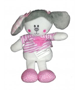 Peluche doudou poupee chien lapin blanc rose gris Maxita 22 cm